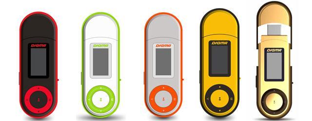 Представлен MP3-плеер Digma U1 в ярких цветовых вариациях
